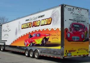 A truck with an advertising vehicle wrap